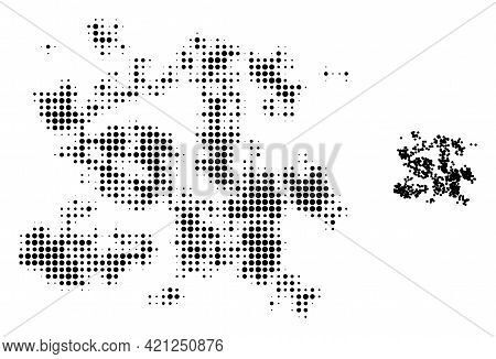 Particle Swarm Halftone Dotted Icon Illustration. Halftone Pattern Contains Round Pixels. Vector Ill