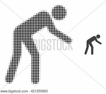 Tired Person Halftone Dotted Icon Illustration. Halftone Array Contains Round Dots. Vector Illustrat