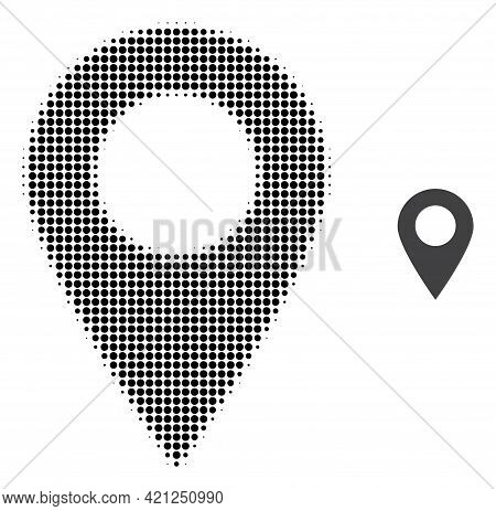 Map Marker Halftone Dotted Icon Illustration. Halftone Array Contains Round Elements. Vector Illustr