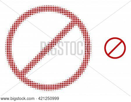 Restrict Halftone Dotted Icon Illustration. Halftone Array Contains Round Pixels. Vector Illustratio
