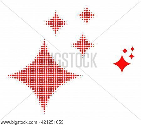 Shine Stars Halftone Dotted Icon Illustration. Halftone Pattern Contains Round Pixels. Vector Illust
