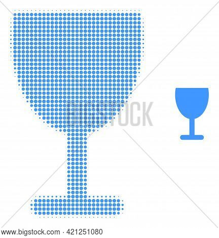 Wine Cup Halftone Dotted Icon Illustration. Halftone Array Contains Circle Pixels. Vector Illustrati