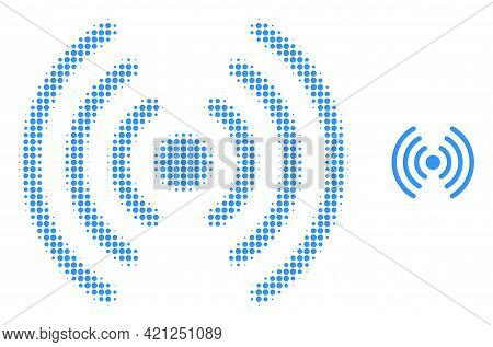 Wi-fi Signal Halftone Dotted Icon Illustration. Halftone Array Contains Circle Elements. Vector Illu