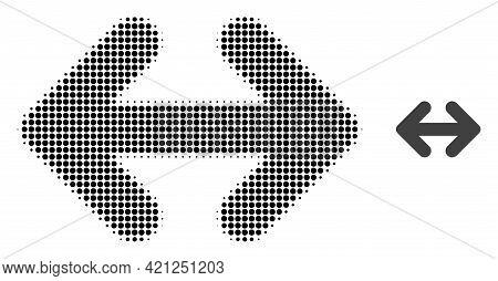 Exchange Arrows Horizontally Halftone Dotted Icon Illustration. Halftone Array Contains Circle Eleme
