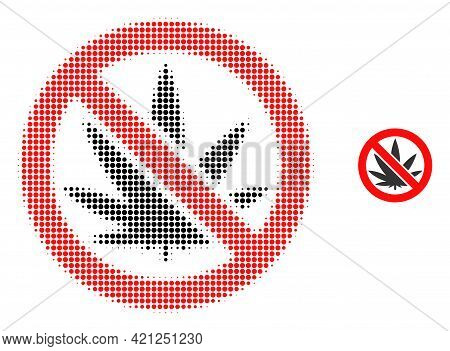 Forbidden Cannabis Halftone Dotted Icon Illustration. Halftone Pattern Contains Circle Dots. Vector