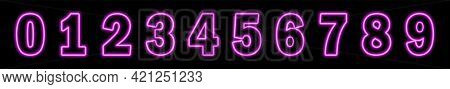 Set Of Neon Pink Numbers On Black Background. Learning Numbers, Serial Number, Price, Place. Vector