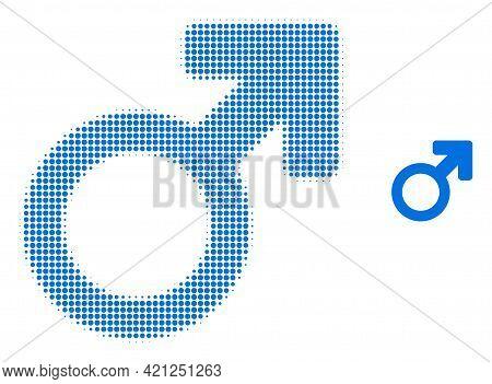 Male Symbol Halftone Dot Icon Illustration. Halftone Array Contains Circle Points. Vector Illustrati