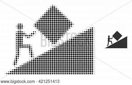 Pointless Task Halftone Dot Icon Illustration. Halftone Array Contains Round Elements. Vector Illust