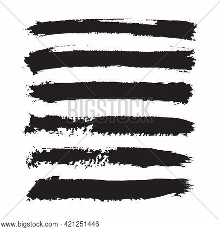 Vector Dark Black Grunge Watercolor, Ink Texture Set Of Hand Painted Dry Brush Splashes, Strokes, St