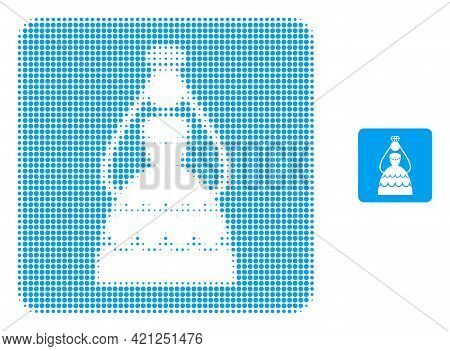 Crowned Bride Halftone Dotted Icon Illustration. Halftone Array Contains Circle Elements. Vector Ill
