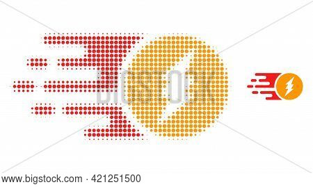 Electric Charge Halftone Dot Icon Illustration. Halftone Pattern Contains Round Dots. Vector Illustr