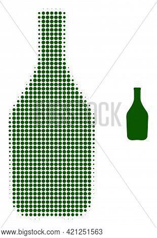Wine Bottle Halftone Dot Icon Illustration. Halftone Array Contains Circle Points. Vector Illustrati