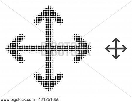 Expand Arrows Halftone Dot Icon Illustration. Halftone Pattern Contains Round Pixels. Vector Illustr