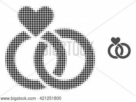 Wedding Rings Halftone Dot Icon Illustration. Halftone Array Contains Circle Dots. Vector Illustrati