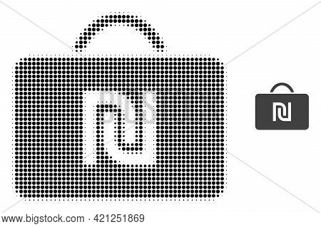 Shekel Case Halftone Dotted Icon Illustration. Halftone Pattern Contains Circle Dots. Vector Illustr