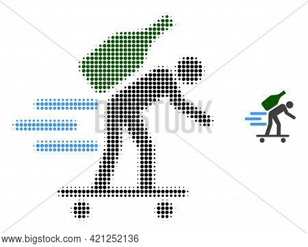 Express Wine Courier Halftone Dotted Icon Illustration. Halftone Array Contains Round Dots. Vector I
