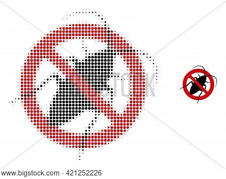Stop Cockroach Halftone Dotted Icon Illustration. Halftone Array Contains Round Points. Vector Illus