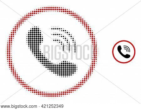 Telephone Call Halftone Dot Icon Illustration. Halftone Pattern Contains Circle Points. Vector Illus