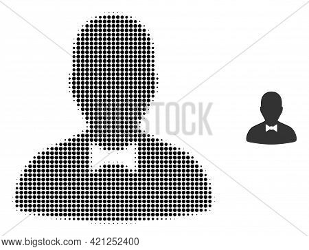 Gentleman Halftone Dotted Icon Illustration. Halftone Pattern Contains Round Elements. Vector Illust