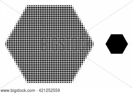 Filled Hexagon Halftone Dotted Icon Illustration. Halftone Pattern Contains Circle Dots. Vector Illu