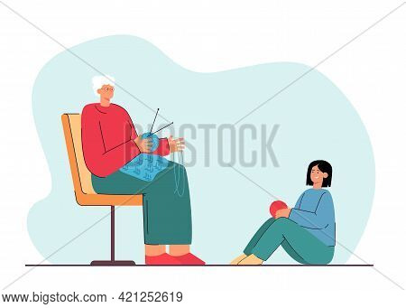 Grandmother Sitting And Knitting Next To Her Granddaughter. Flat Vector Illustration. Elderly Woman