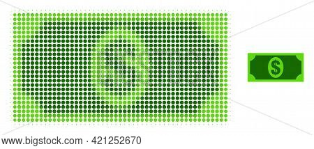 Usd Banknote Halftone Dot Icon Illustration. Halftone Pattern Contains Circle Elements. Vector Illus