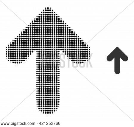 Up Direction Halftone Dotted Icon Illustration. Halftone Pattern Contains Circle Dots. Vector Illust