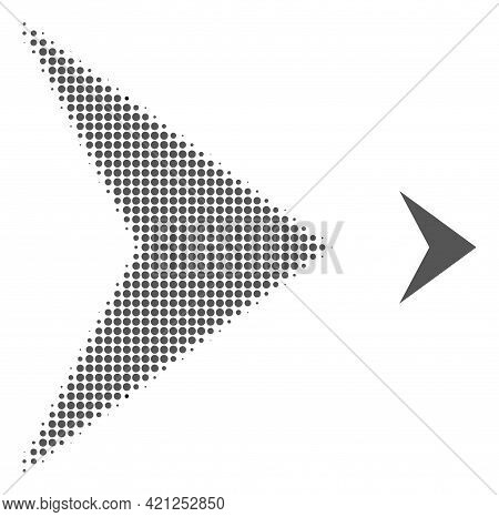 Right Direction Halftone Dot Icon Illustration. Halftone Array Contains Round Elements. Vector Illus