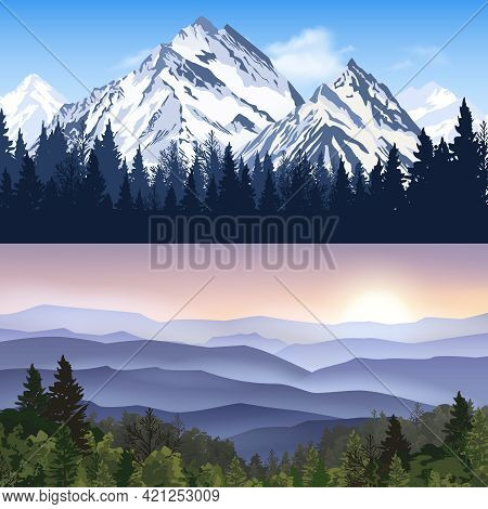 Banners Set Of Landscape With Winter Mountains And Forest Mountains With Sunrise Haze Vector Illustr