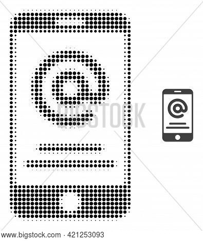 Smartphone Address Info Halftone Dotted Icon Illustration. Halftone Pattern Contains Circle Elements