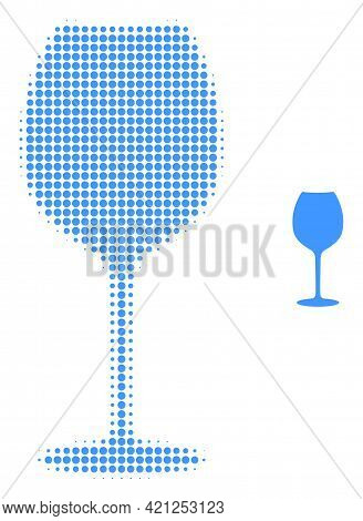 Wine Glass Halftone Dotted Icon Illustration. Halftone Array Contains Round Elements. Vector Illustr