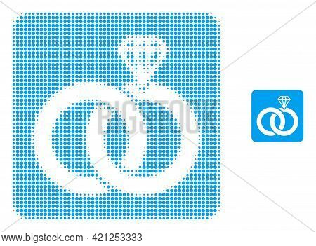 Jewelry Wedding Rings Halftone Dotted Icon Illustration. Halftone Pattern Contains Round Dots. Vecto