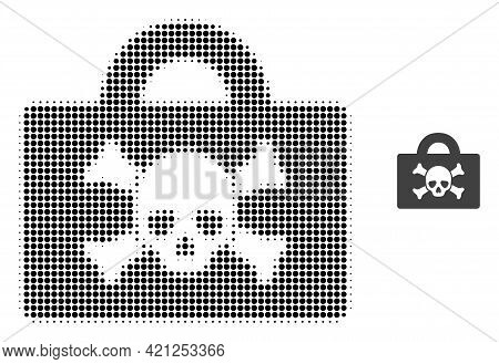 Mortal Case Halftone Dotted Icon Illustration. Halftone Array Contains Circle Points. Vector Illustr