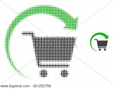 Repeat Shopping Order Halftone Dotted Icon Illustration. Halftone Pattern Contains Circle Dots. Vect