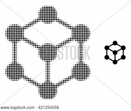 Cube Nodes Halftone Dot Icon Illustration. Halftone Pattern Contains Round Dots. Vector Illustration