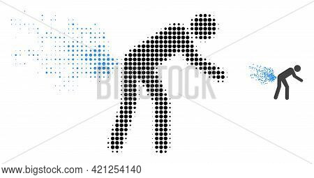 Farting Person Halftone Dotted Icon Illustration. Halftone Array Contains Circle Dots. Vector Illust