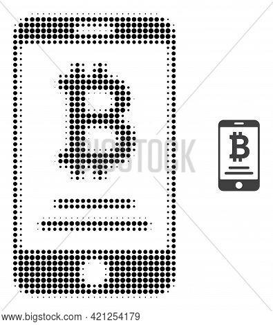 Mobile Bitcoin Account Halftone Dot Icon Illustration. Halftone Array Contains Round Dots. Vector Il