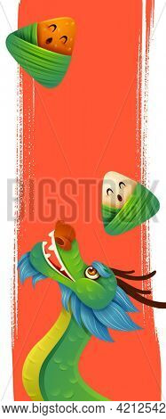 Dragon Boat Festival with ice dumpling cartoon character and dragon boat on abstract ink brush background. Vertical banner.