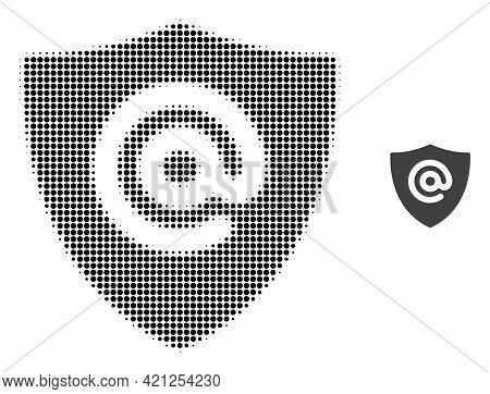 Email Address Shield Halftone Dotted Icon Illustration. Halftone Pattern Contains Round Elements. Ve