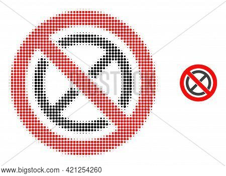 Forbidden Ban Halftone Dot Icon Illustration. Halftone Pattern Contains Circle Dots. Vector Illustra