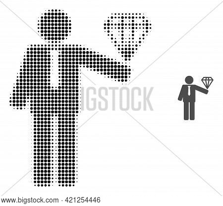 Groom Diamond Halftone Dotted Icon Illustration. Halftone Pattern Contains Circle Points. Vector Ill