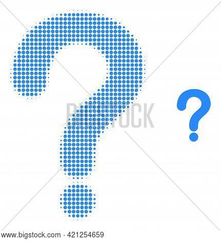 Question Mark Halftone Dot Icon Illustration. Halftone Array Contains Round Pixels. Vector Illustrat