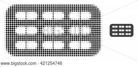 Pill Blister Halftone Dot Icon Illustration. Halftone Array Contains Circle Dots. Vector Illustratio