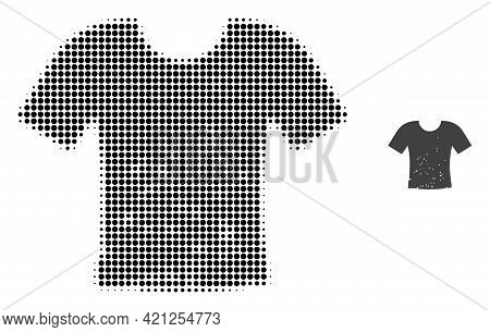Dirty T-shirt Halftone Dot Icon Illustration. Halftone Array Contains Circle Points. Vector Illustra