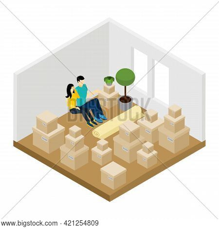 Moving In A New Apartment With Lots Of Boxes Isometric Vector Illustration
