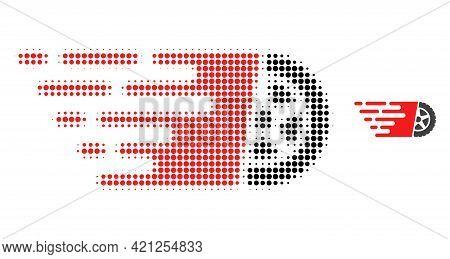 Tire Wheel Halftone Dot Icon Illustration. Halftone Array Contains Circle Elements. Vector Illustrat