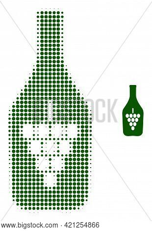 Wine Bottle Halftone Dotted Icon Illustration. Halftone Array Contains Round Dots. Vector Illustrati
