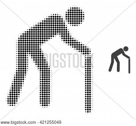 Retired Person Halftone Dot Icon Illustration. Halftone Array Contains Circle Pixels. Vector Illustr