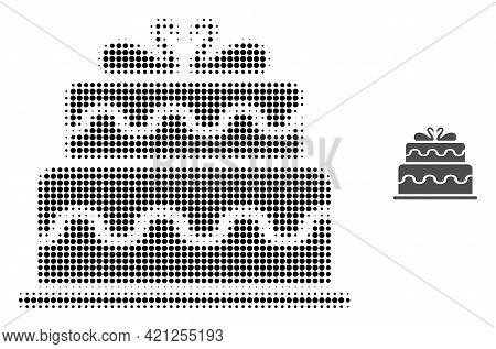 Marriage Cake Halftone Dotted Icon Illustration. Halftone Pattern Contains Round Points. Vector Illu