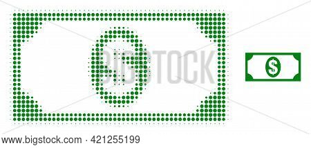 Usd Banknote Halftone Dotted Icon Illustration. Halftone Pattern Contains Circle Dots. Vector Illust